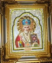 Бисерная икона Св Николая Чудотворца