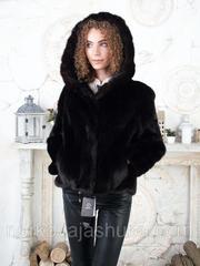 Женская шуба из меха норки с капюшоном размеры 40 42