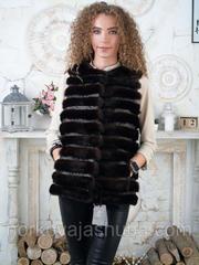 Модная безрукавка из канадской норки поперечка размеры 40 42
