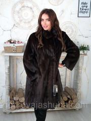 Женская норковая шуба коричневая размер 48 50