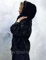 Полушубок норковый с капюшоном размер 46 48