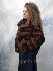 Женская короткая норковая шуба поперечка 44 46 размеры