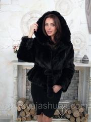 Женская норковая шуба с капюшоном полушубок 44 46 48 размеры