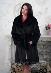 Женская норковая шуба по колено под пояс махаон 44 46 размеры