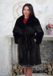 Фирменная классическая норковая шуба под пояс размер 42 44