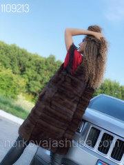 Шикарный жилет норковый удлиненный поперечка 42 44 размер