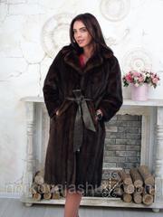 Женская шуба из меха норки махаон под пояс 46 48 размер