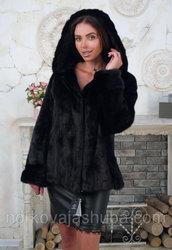 Женская шуба норковая с капюшоном размер 50 52