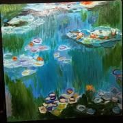 Картина «Водяные лилии» Клод Моне – холст,  масло,  копияРазмер 40*40 см